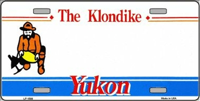 The Klondike - Yukon Metal License Plate. This reproduction license plate reads The Klondike - Yukon. Heavy duty metal that can go on the front of the car or in your man cave.