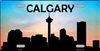 "Calgary Downtown Silhouette Metal License Plate. Heavy duty metal that can go on the front of the car or in your man cave. This 6"" x 12"" automotive high gloss metal license plate tag is made of the highest quality aluminum for a weather resistant finish."