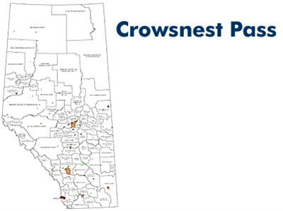 Crowsnest Pass Landowner map - M1. County and Municipal District (MD) maps show surface land ownership with each 1/4 section labeled with the owners name. Also shown by color are these land types - Crown (government), Freehold (private) and Crown Leased