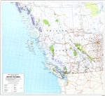 British Columbia Provincial Base Map 1:2,000,000. This detailed base map of BC shows primary and secondary highways, rivers, lakes, and other waterways, cities, towns, villages, airports, political boundaries, latitude and longitude grids. Includes a larg
