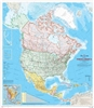 North America Natural Resources Canada Wall Map. The map is a general reference map giving detailed coverage of populated places, transportation routes and the drainage network. Land areas are colored to represent individual countries and dependencies