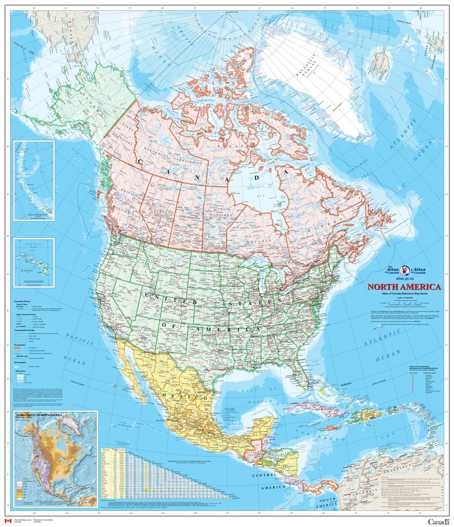 North America Natural Resources Canada Wall Map