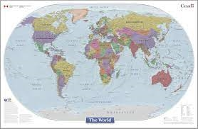 World Wall Map Natural Resources Canada - Canada map