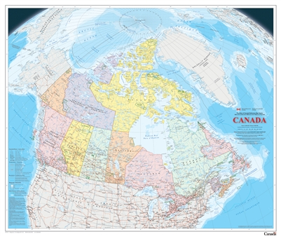 Canada Political Natural Resources Canada Wall Map. This map is the latest publication in the Atlas of Canada Reference Map Series. It is an update to the 1:6,000,000 paper map of Canada. International, provincial and territorial boundaries and the 200-mi