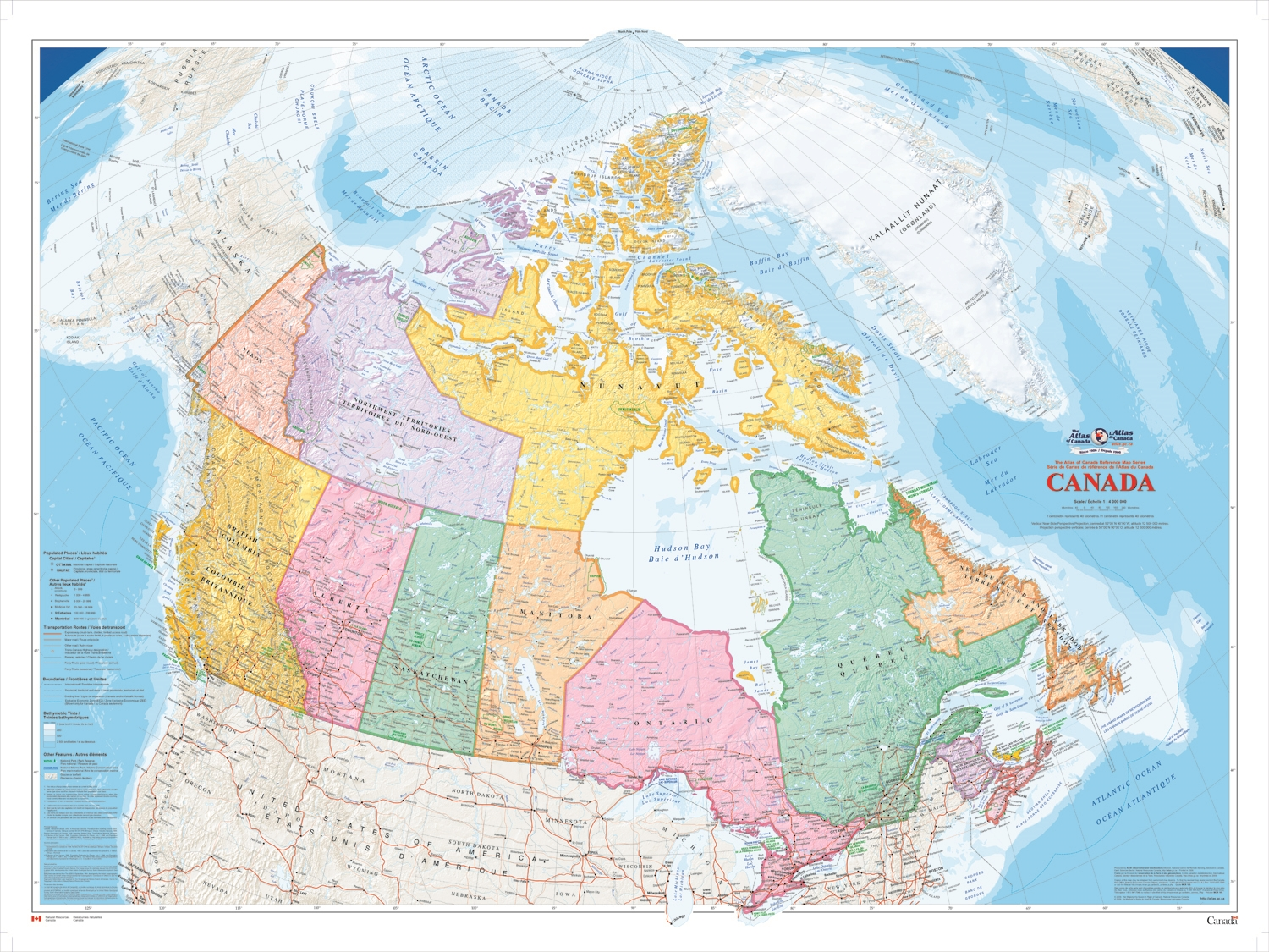 Wall Map Canada Canada Political Natural Resources wall map   XL. The largest of
