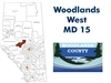 Woodlands Municipal District 15 Landownership Map. County and Municipal District (MD) maps show surface land ownership with each 1/4 section labeled with the owners name. Also shown by color are these land types - Crown (government), Freehold (private) an