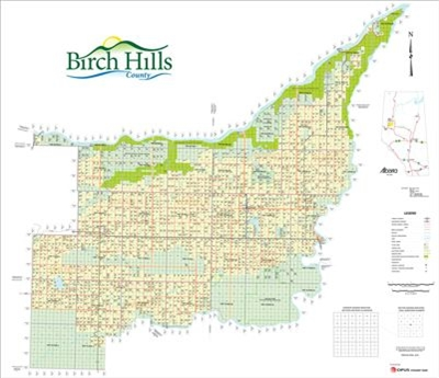 Birch Hills Municipal District Landowner map - MD 19. County and Municipal District (MD) maps show surface land ownership with each 1/4 section labeled with the owners name. Also shown by color are these land types - Crown (government), Freehold (private)