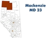 Mackenzie Municipal District Landownership map - MD23. County and Municipal District (MD) maps show surface land ownership with each 1/4 section labeled with the owners name. Also shown by color are these land types - Crown (government), Freehold (private