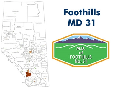 Foothills County Landowner map - MD 31. County and Municipal District (MD) maps show surface land ownership with each 1/4 section labeled with the owners name. Also shown by color are these land types - Crown (government), Freehold (private) and Crown Lea