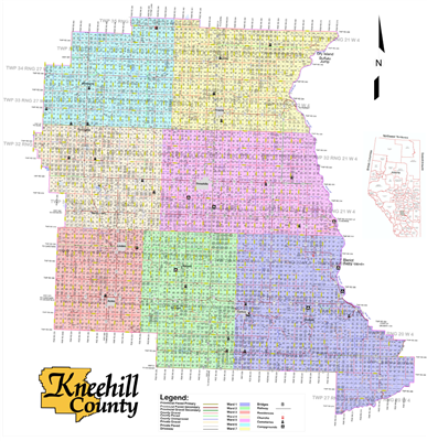 Kneehill Municipal District Landowner map MD48. County and Municipal District (MD) maps show surface land ownership with each 1/4 section labeled with the owners name. Also shown by color are these land types - Crown (government), Freehold (private) and C