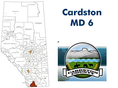 Cardston Municipal District Landowner map - MD 6. County and Municipal District (MD) maps show surface land ownership with each 1/4 section labeled with the owners name. Also shown by color are these land types - Crown (government), Freehold (private) and