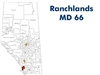 Ranchlands Municipal District Landowner map - MD 66. County and Municipal District (MD) maps show surface land ownership with each 1/4 section labeled with the owners name. Also shown by color are these land types - Crown (government), Freehold (private)