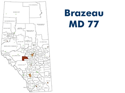 Brazeau Municipal District Landowner map - MD 77. County and Municipal District (MD) maps show surface land ownership with each 1/4 section labeled with the owners name. Also shown by color are these land types - Crown (government), Freehold (private) and