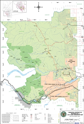 Bighorn Municipal District Landowner map - MD 8. County and Municipal District (MD) maps show surface land ownership with each 1/4 section labeled with the owners name. Also shown by color are these land types - Crown (government), Freehold (private) and