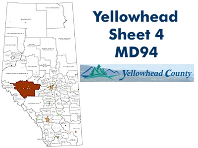 Yellowhead Municipal District 94 Map - Cadomin. County and Municipal District (MD) maps show surface land ownership with each 1/4 section labeled with the owners name. Also shown by color are these land types - Crown (government), Freehold (private) and C