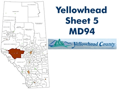 Yellowhead Municipal District 94 Map - Sheet 5. County and Municipal District (MD) maps show surface land ownership with each 1/4 section labeled with the owners name. Also shown by color are these land types - Crown (government), Freehold (private) and C