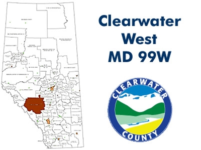 Clearwater West Municipal District Landowner map - MD 99. County and Municipal District (MD) maps show surface land ownership with each 1/4 section labeled with the owners name. Also shown by color are these land types - Crown (government), Freehold (priv