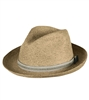 TILLEY Raffia Hat Tea Stain R7. This traditional Raffia Fedora, created using premium Madagascar, has a curved brim that can be worn traditionally or creatively. Moisture wicking sweatband front insert can be cleaned. Keep valuables safe inside.