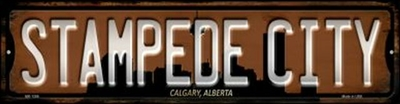 "Calgary Stampede City Metal License Plate. Heavy duty metal that can go on the front of the car or in your man cave. This 6"" x 12"" automotive high gloss metal license plate tag is made of the highest quality aluminum for a weather resistant finish. It is"