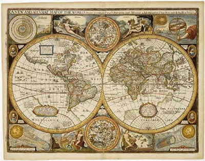 World Antique Wall Map - 1651 reproduction. This is an excellent antique style wall map of the world. It is a reprint of a 1651 original drawing. It includes antique style cartography, Northern and Southern celestial star charts, diagrams of the eclipse o