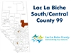 Lac La Biche landowner map - County 99 South and Central. County and Municipal District (MD) maps show surface land ownership with each 1/4 section labeled with the owners name. Also shown by color are these land types - Crown (government), Freehold (priv