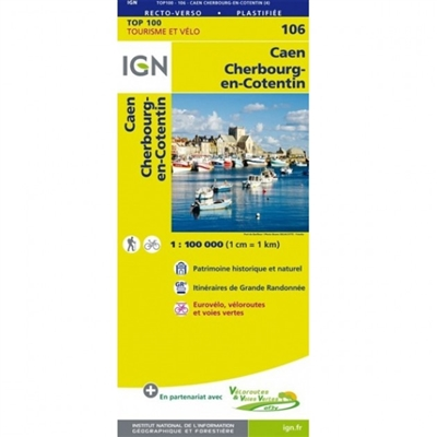 Caen Cherbourg-en-Cotentin map France IGN 106. The brand new revision of the IGN Top 100 maps - originally designed for cyclists they should appeal to anyone who wants to explore their holiday area of France in detail by walking, cycling or by car. These