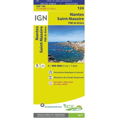 Nantes Saint-Nazaire France - Detailed Road Map. The brand new revision of the IGN Top 100 maps - originally designed for cyclists they should appeal to anyone who wants to explore their holiday area of France in detail by walking, cycling or by car. IGN