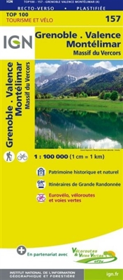 Grenoble Montelimar France - Detailed Road Map. The brand new revision of the IGN Top 100 maps - originally designed for cyclists they should appeal to anyone who wants to explore their holiday area of France in detail by walking, cycling or by car. IGN s