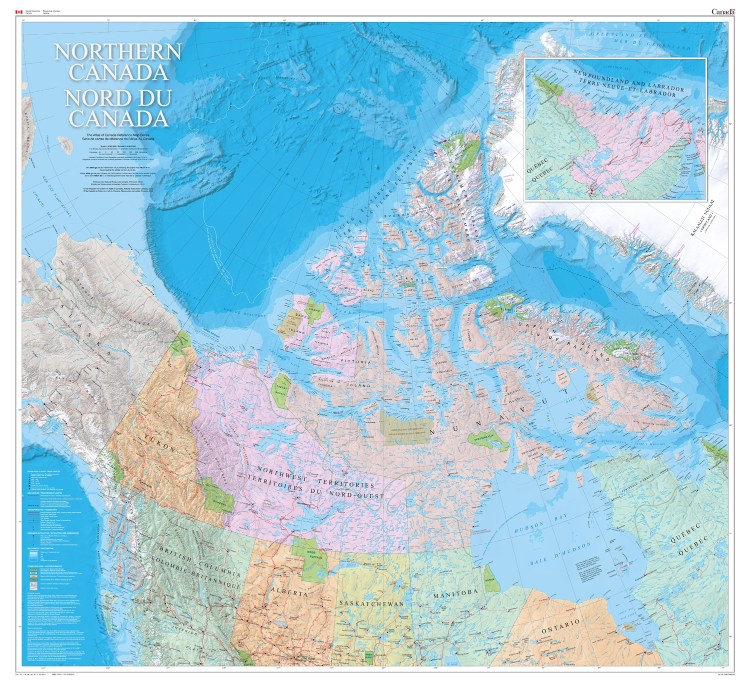 Northern Canada Natural Resources Canada Wall Map - Relief map of canada