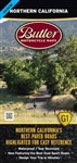 Northern California G1 Motorcycle Map. Covers the area from the Oregon border south to roughly the city of Santa Cruz on the Pacific Coast. In between are, foggy coastlines, giant trees, granite spires and roads that cross them all. The Butler team rode o