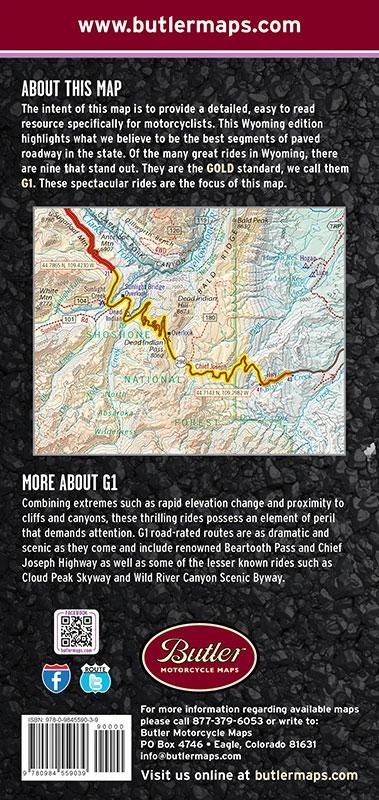 Black Hills Elevation Map.Wyoming Black Hills South Dakota G1 Motorcycle Map Waterproof