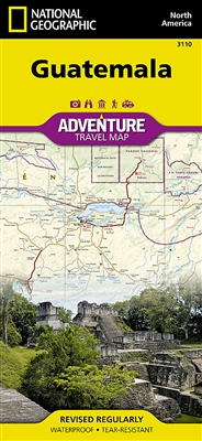 Guatemala National Geographic Adventure Map. The front side offers a detailed topographic map of northern Guatemala, including northern border regions with Mexico and Belize. Map a journey down marked rivers to the ancient Mayan ruins
