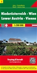 Lower Austria and Vienna travel and road map. This map contains a booklet that shows a place name index, downtown and access maps of Vienna and St. Pölten, as well as tourist information on main sights. Other tourist information on the map.