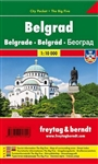 This is a detailed city pocket map of Belgrade. Includes tourist information and a street index. Languages: German, English, Italian, French. Comes folded.