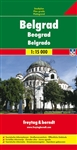 This is a detailed city map of Belgrade. Includes tourist information and a street index. Languages: German, English, Italian, French. Comes folded.