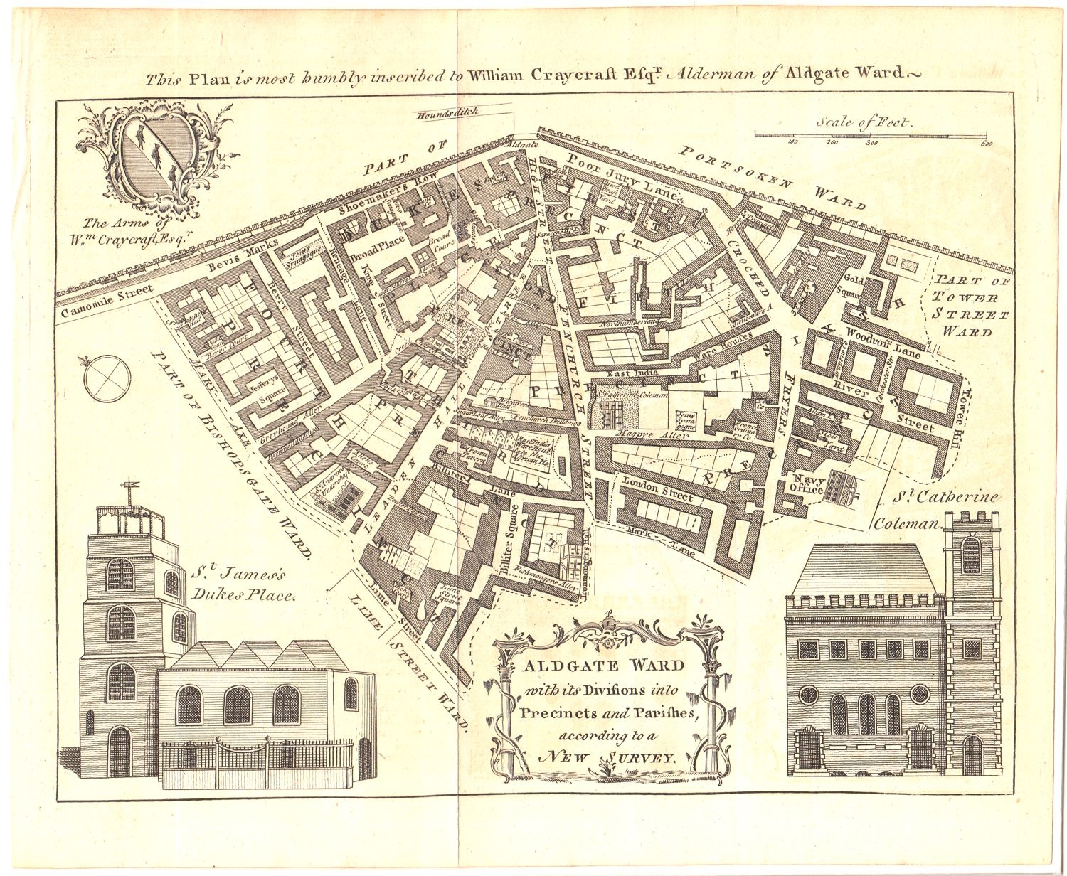 Antique Map Aldgate Ward London Circa 1770 This Old City Map Of London Depicts Aldgate Ward