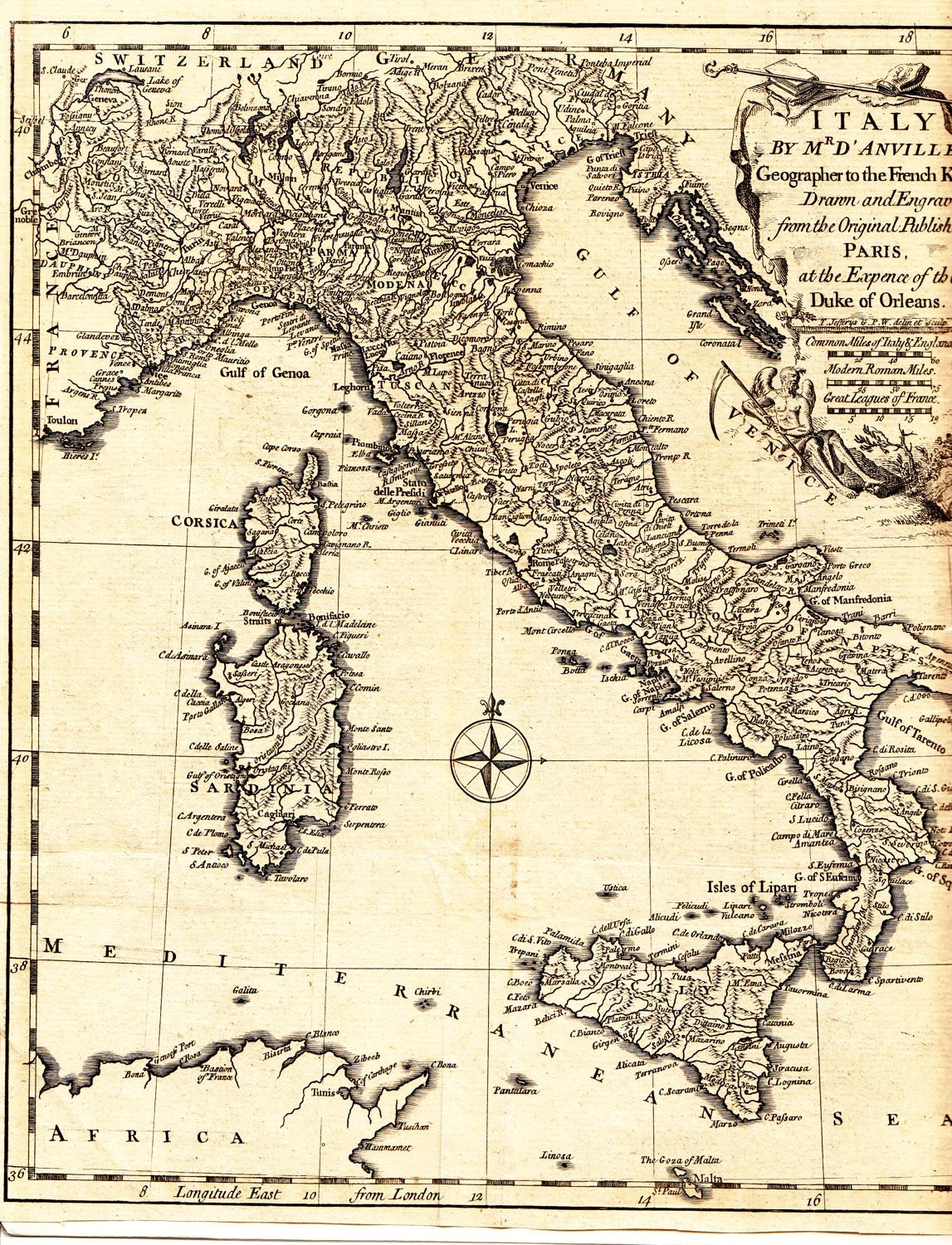 Antique Map Of Italy By Jean D Anville Circa 1794 This Rare Map
