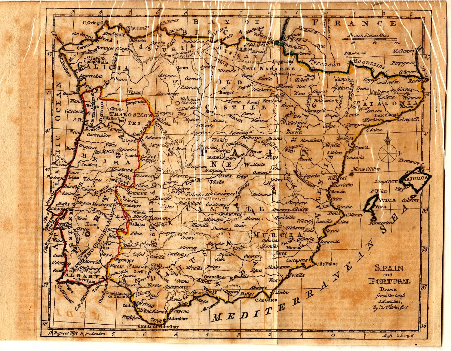 Map Of Spain Portugal And France.Antique Map Of Spain Portugal By Thomas Kitchin Circa 1785