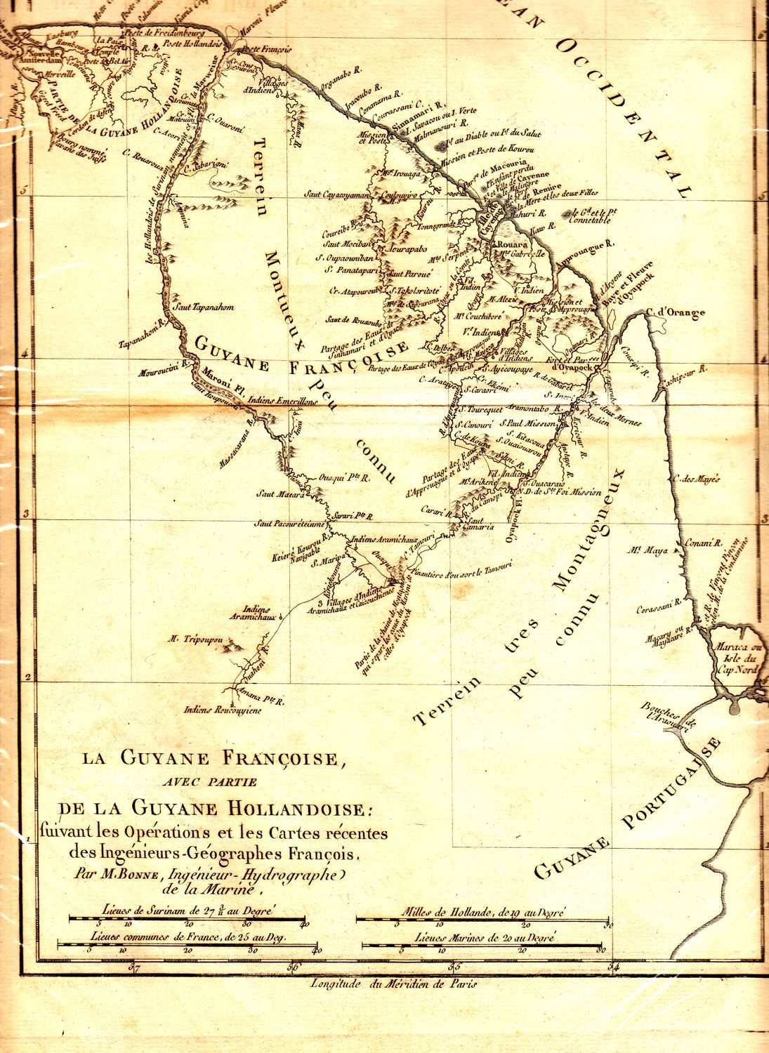 Image of: Antique Map Of South America By M Bonne Circa 1780 An Early Rare French Map Of