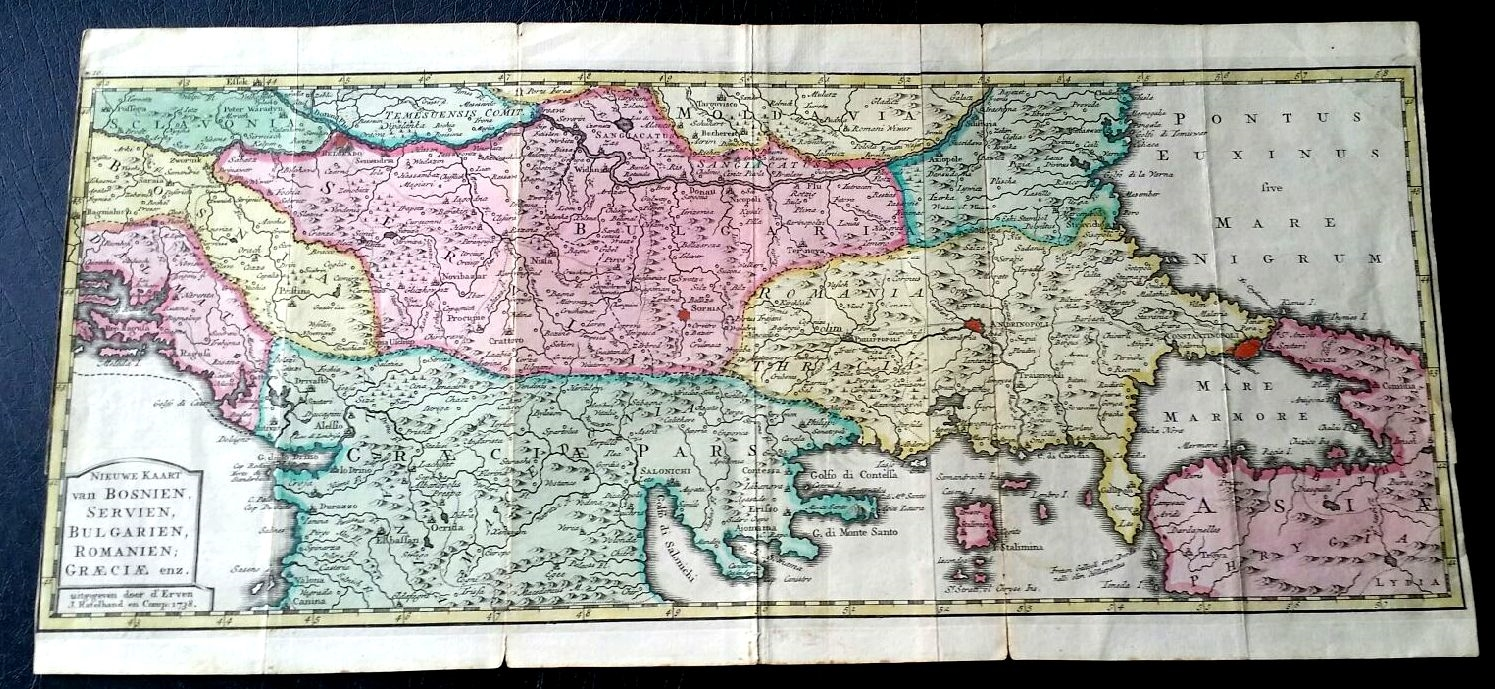 Antique map of Eastern Europe and Asia - circa 1738. This map shows ...