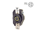 Leviton 20 Amp, 125 Volt, NEMA L5-20R, 2P, 3W, Flush Mtg Locking Receptacle, Industrial Grade, Grounding, V-0-MAX - BLACK