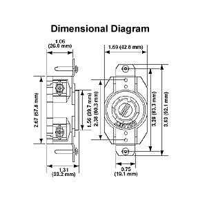 Leviton 20 Amp, 125/250 Volt, NEMA L14-20R, 3P, 4W, Flush
