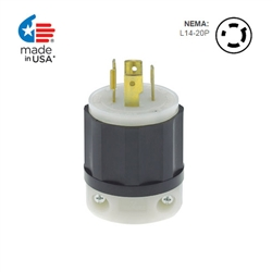 Leviton 20 Amp, 125/250 Volt, NEMA L14-20P, 3P, 4W, Locking Plug, Industrial Grade, Grounding - BLACK-WHITE