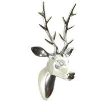 Polished Aluminum Reindeer Head Wall Decor