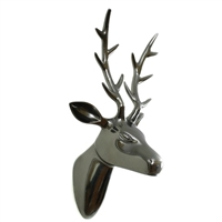 Aluminum Reindeer Head Wall Decor in Black Nickel Finish