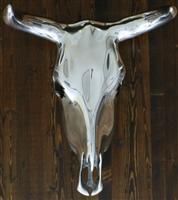 Polished Aluminum Buffalo Skull Head Wall Decor