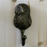 Owl Wall Hook in Antique Brass Finish