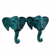 Elephant Wall Hook in Green Distressed Finish