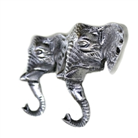 Elephant Wall Hook in an antique silver