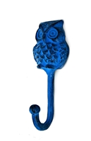 Owl Wall Hook in Blue Distressed Finish